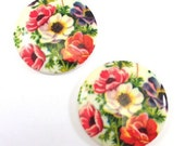 2 Vintage 30mm Floral (Poppies) Decal Acrylic/Plastic Cabochon, Flat Back
