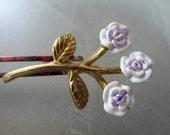 Vintage Violet Floral Gold Plated Enamel Brooch Pin 40x24mm (1)