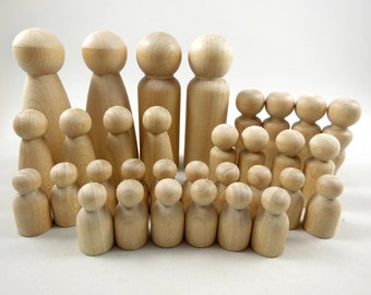 32 Peg Dolls - Chess Set - Game Pieces - Unfinished Wooden Peg Dolls for DIY