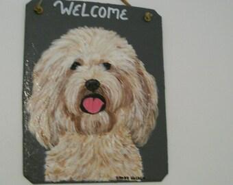 Labradoodle Dog Welcome Slate (light coat)