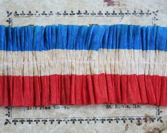 Patriotic Stripe Crepe Paper Ruffle Trim 34 Inches  - Red, Off White, and Blue Crepe Paper Ruffles - Vintage Style Paper Ruffled Trim