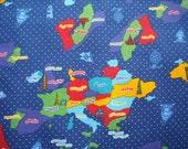 Kokka Navy Europe Map Japanese Cotton Fabric - 1 meter cut