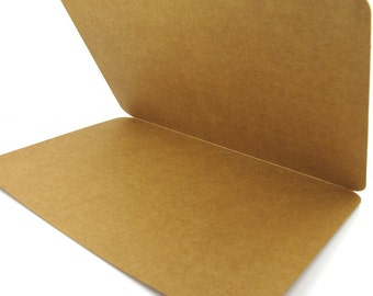 Blank Kraft Cards, Folded Kraft Cards, Blank Greeting Cards, Round Corner Cards - 5 pcs