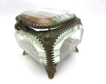 Antique Ormolu Box - Beveled Glass Jewelry Casket 1904