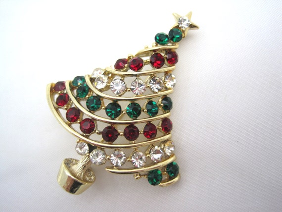 Vintage Lisner Christmas Tree Brooch -  Holiday Pin - 1950s Costume Jewelry