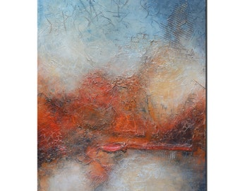 Original Abstract Painting, Contemporary Red Large Painting, Abstract Painting Textured ,Orange Red Painting by Andrada - 30x24