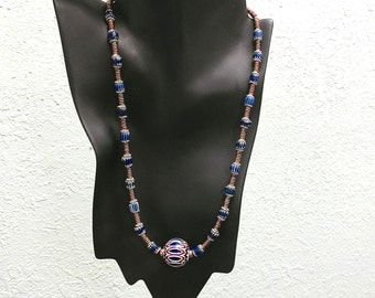 African Chevron Trade Bead Necklace 22 inches with With Focal 6 layer Chevron Focal by Kate Drew-Wilkinson