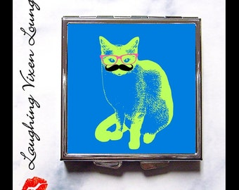 Cat Compact Mirror - Cat Pill Box - Hep Cat Compact D - Cat Mirror - Funny Cat - Pillbox - Pill Case - Hep Cat Collection