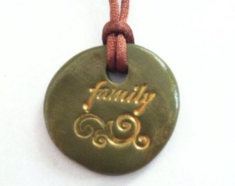 Polymer Clay Stamped Clay Pendant Family