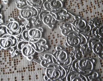 6 Fancy Silver Dresden Fancy Paper Lace Embellishments Germany