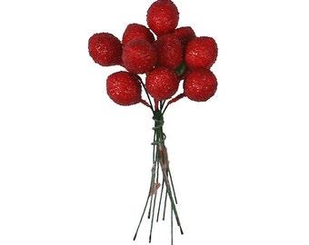 Vintage Millinery Fruit Japan 10 Dark Red Strawberries  VN 028DR