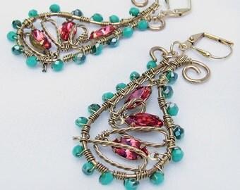Pastel Paisley Earrings, Swarovski Sapphire dangles, Retro Modern jewelry