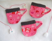 """Valentines """"Owl Be Yours""""  Cup Coaster with a Detachable Felt Tea Bag"""