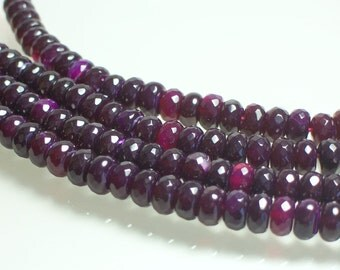 35pc strand 8mm Fuchsia Burgundy Berry Color Agate Rondelles Faceted Semi Precious Gemstones Jewelry Supplies Jewellery