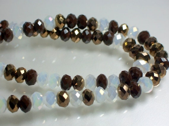 Chinese Glass Crystal rondelles 8mm Deep Burgundy/Metallic Gold/Opaque White/Mix strand 36pcs