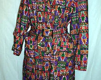 Groovy Vintage 60s, 70s Multi Color Tapestry Look Trench Coat, Spy Cool Mod