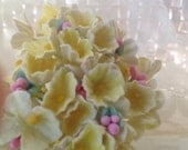 1 Bouquet Vintage  Flocked Millinery Flowers Forget Me Nots -  Antique Yellow