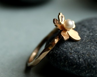 14k Rose Gold Engagement Ring Delicate Sakura Flower Ring With Freshwater Pearl Bridal Ring Hammered Band