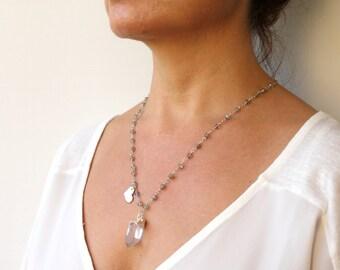Large Quartz Point Necklace Crystal Raw Quartz Point Pendant Labradorite Beaded Chain Layering Necklace