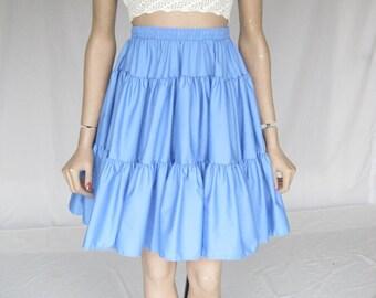 Vintage 70s Blue Circle Skirt