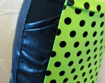 Lime Green and Faux Leather Super Mini Skirt