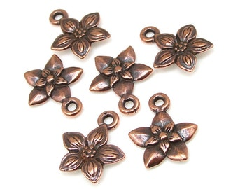 Copper Flower Charms - 14mm x 12mm Antique Copper Charms - TierraCast Star Jasmine Drop - Pewter Metal Beads (P762)