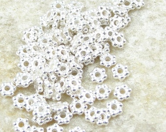 100 BRIGHT SILVER Beads 3mm Flat Daisy Spacers - TierraCast Silver Bali Spacer Beads (PS7)