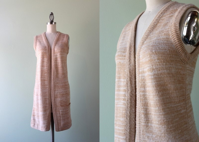 1970s Sweater / Vintage 70s Space Dyed Sleeveless Sweater Jacket / Long Cardigan Sweater