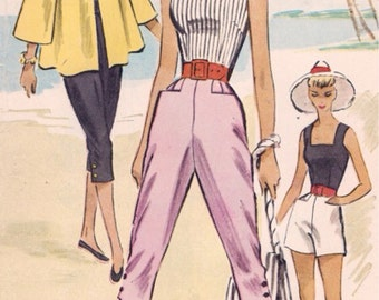 1952 McCall's 9226 Vintage Sewing Pattern Pedal Pushers, Sun Top, Shorts, Beach Jacket