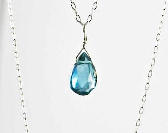 London Blue Topaz Briolette Necklace, Gemstone Necklace, Sterling Silver Necklace, Gemstone Briolette Necklace, Under 35 November Birthstone