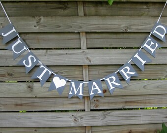 Grey and White Just Married Banner - wedding garland decoration