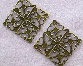 Antique Bronze Diamond Filigree 30mm Square Nickel Free 511