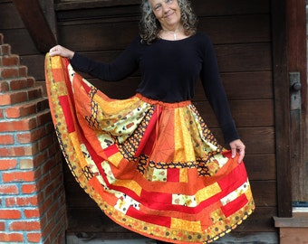 SALE Long Bohemian Patchwork Skirt