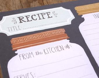 Mason Jar Recipe Cards Set of 15