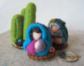 2 inch Tiny Nativity Set -  3 pieces -  Miniature Needle Felted