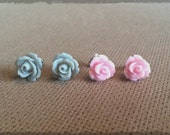Stormy Gray & Pink Rose Cabochon Stud Duo