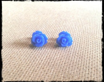 Cobalt Blue Rose Cabochon Earrings