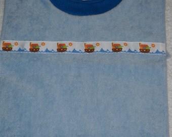 Terry Cloth Towel Baby Bib Light Blue with Noahs Arc Trim