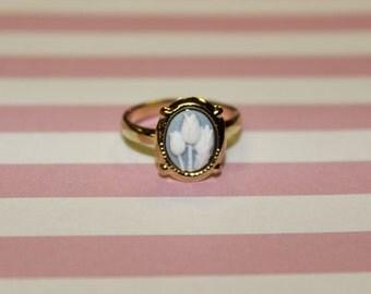 Tiny Blue Tulips Gold Cameo Ring