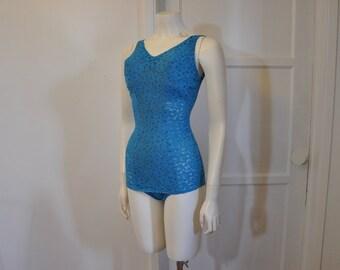 1960s swimsuit / Sea Siren Vintage 60's Clingy Lace Low Cut Back Swimsuit