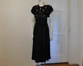 1940s dress / Hollywood Glam Vintage 40's Black Crepe Beaded Dress