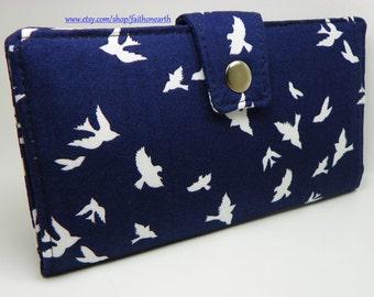 Handmade Long Wallet  BiFold Clutch - Vegan Wallet - Birds in Flight navy blue or half size unisex wallet