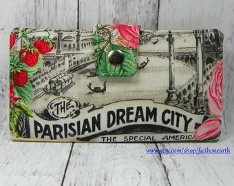 Handmade Long Wallet  BiFold Clutch - Vegan Wallet -  Parisian Dream City