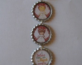 I Believe There are Angels Among Us Flattened Bottle Cap Ornament