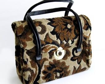1960s Vintage Tapestry Carpet Bag / Purse / Handbag / Floral Print Brown Black Tan / Top Handle Bag / Floral Purse / Mod Style