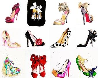 Set of 12 Tiny Prints / Shoe Illustration