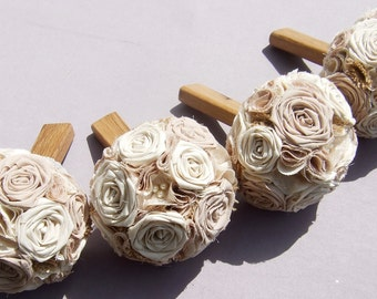 Cotton Cream and Brown Wedding 4 Bridesmaids Bouquets with Burlap and 1 large bridal Bouquet