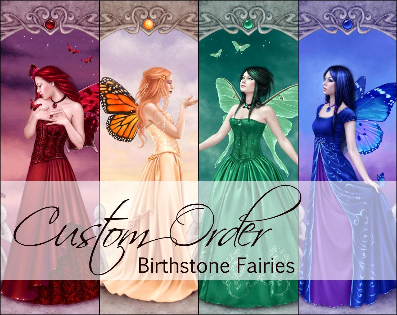 The Birthstone Fairies Custom Order Any Birthstone Fairy Art