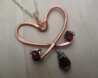 Garnet Heart Necklace, January Birthstone, January Gift, Valentine Gift