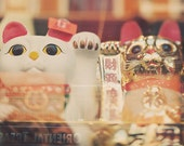 sale 25% off Chinatown photo, San Francisco, lucky cat, chinese asian decor, good luck, fortune, gold white red, happiness, kitties, Chinese